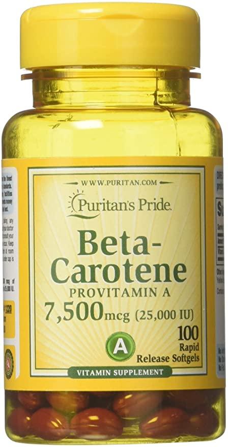 Beta Caroteno para la salud inmune y ocular por Puritan's Pride 100 cápsulas blandas