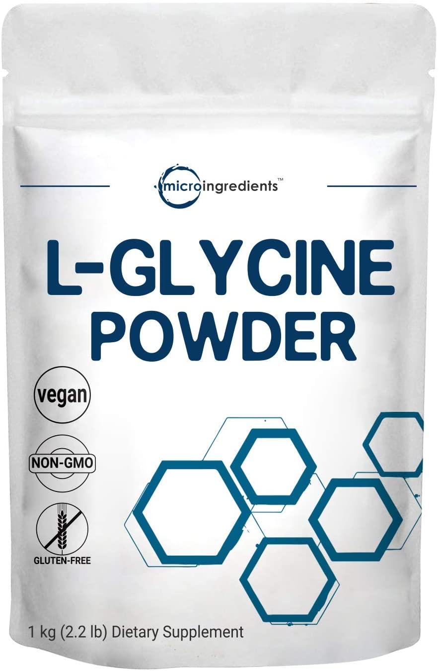 Micro ingredientes de origen estadounidense, L glicina en polvo, 2.2 lbs (2.2 libras), soporta fuertemente la energía muscular, la resistencia, la resistencia y la fuerza, sin OMG y sin gluten