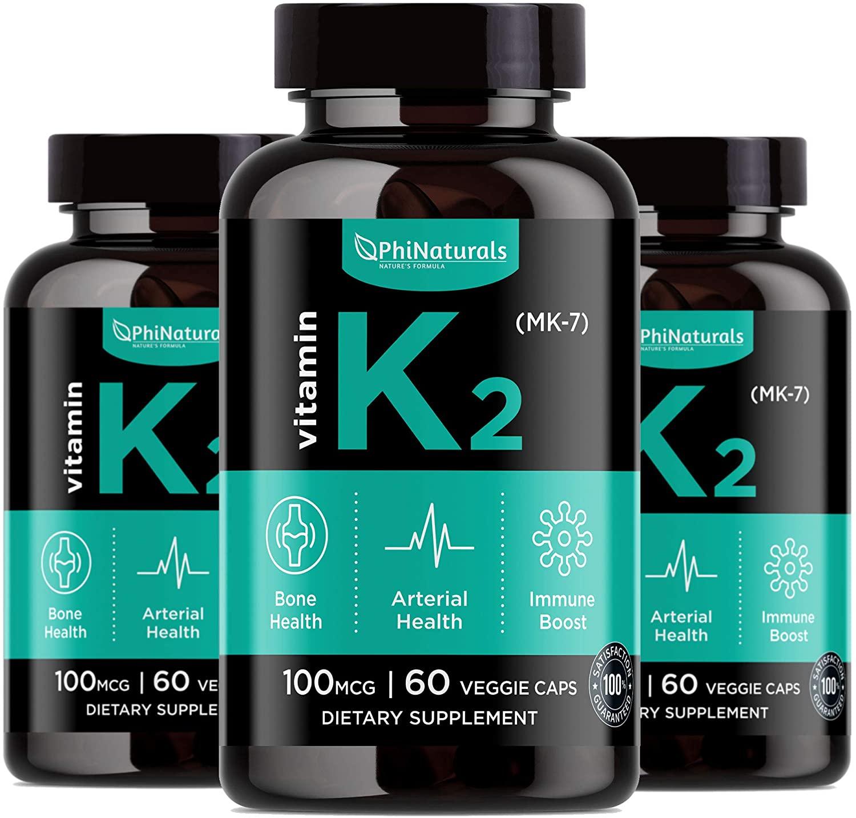 Vitamina K2 MK7 (paquete de 3) - K2 100 mcg - Complejo suplemento K2 Natto - Apoyo hueso salud de los dientes de corazón - Hecho en Estados Unidos (60 cápsulas pequeñas fáciles de tragar)