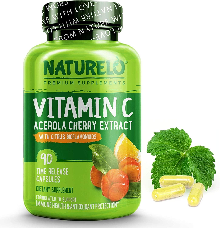 NATURELO Vitamina C con acerola orgánica de cereza y bioflavonoides cítricos naturales
