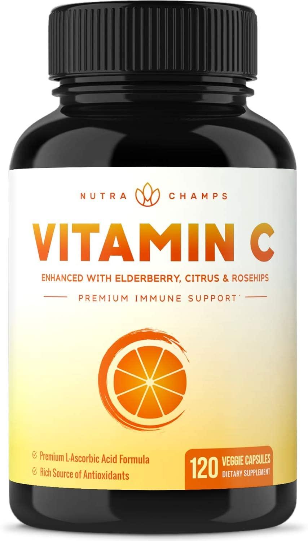 Vitamina C Premium de 1000 mg con frambuesa, bioflavonoides cítricos y caderas de rosas