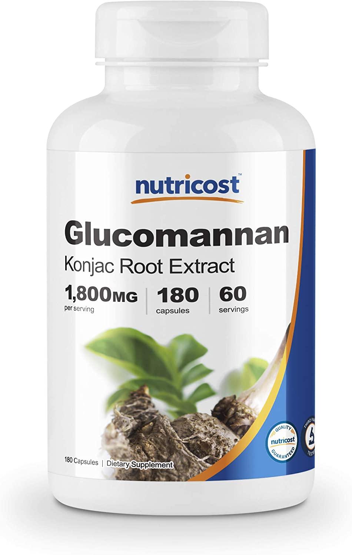 Nutricost Glucomannan 1,800 mg por porción, 180 cápsulas, 1 botella, 1