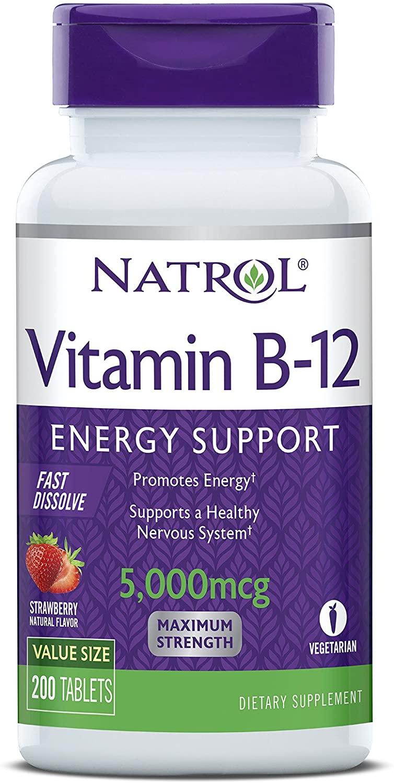 Natrol Vitamina B12 tabletas de disuelción rápida, 7444.94, 200 tabletas., 1