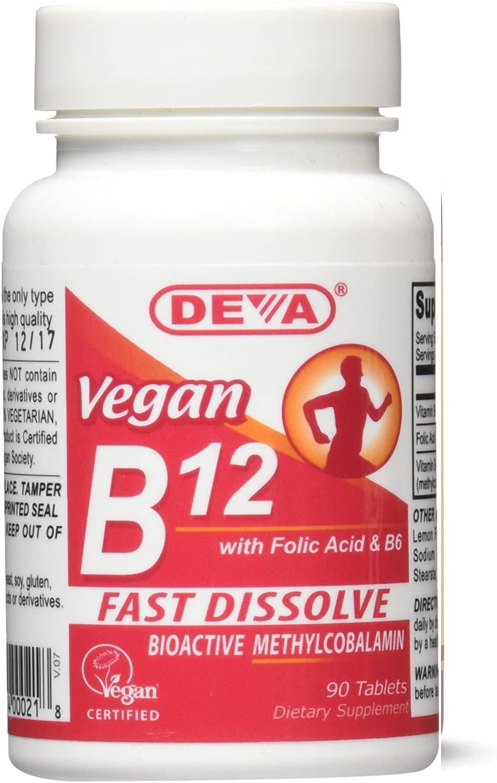 Comprimidos Deva Vegan B12 Fast Dissolve, 90 tabletas (1 Pack)