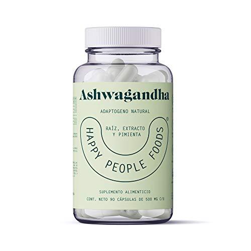 Ashwagandha - Extracto y Raiz con pimienta - 90 capsulas de 500mg - Adaptogeno 100% Natural - Reduce Estress y Ansiedad - Happy People Foods