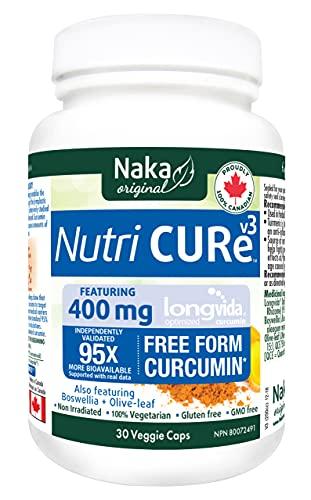 Naka Nutri Cure V3, con 400 mg de curcumina Longvida, 95 veces más biodisponible, además de Boswellia y hoja de olivo, fabricado en Canadá (30 tapas vegetales)
