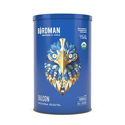Birdman Falcon Protein Proteina Vegetal USDA Organica En Polvo (Vegana), 22gr Proteina, Sin inflamacion, Sin acne, 39 Porciones Sabor Vainilla 1.170kg