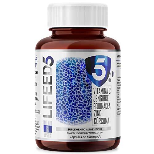 LF5 INMUNE Vitamina C D Zinc Curcuma Equinacea Jengibre Sabila | Capsulas 60 días | LIFEED SISTEMA INMUNE COMPLEX | LIFEED5 IMMUNE PRO COMPLEX | Ing Naturales con Vitamina D3 400 UI Echinacea Sin Azucar Vitaminas Veganas