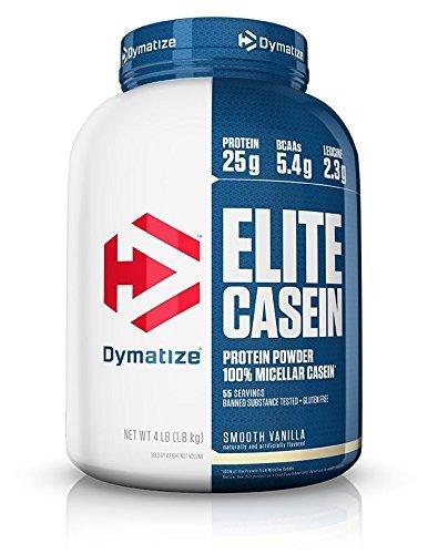 Dymatize Elite Casein, polvo de proteína de caseína, absorción más lenta con aminoácidos que construyen músculos, caseína micelar 100%, 25 g de proteína, 5.3 g de BCAA y 2.3 g de leucina, perfecto para la recuperación nocturna, digestión lenta, Vainilla, 4 libras