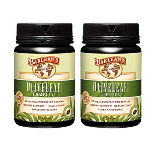 Barlean's Organic Oils 120ct Oliva Leaf Complejo Softgels, 120 unidades, Paquete de 2