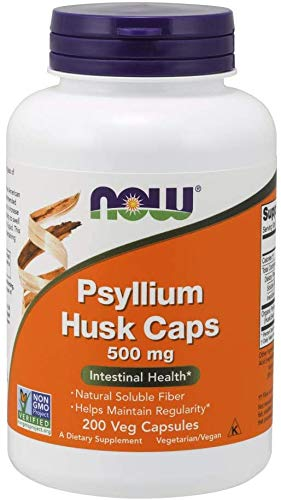 Cáscara de Psyllium   NOW   Suplemento   Proyecto sin OGM Verificado   Fibra Soluble Natural   500 mg   200 Cápsulas Veg