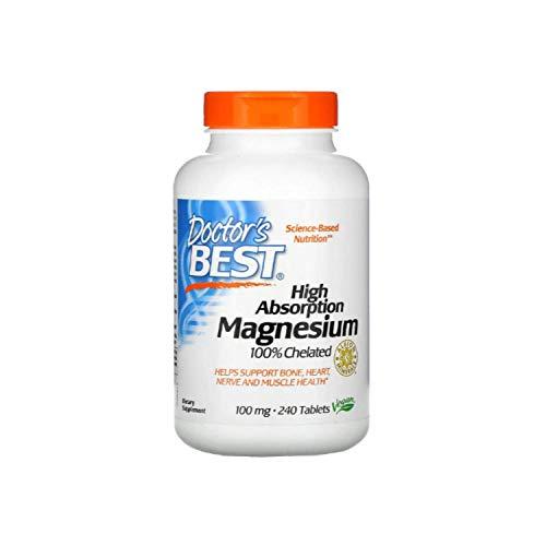 Lisinato Glicinato de Magnesio de Doctor's Best   Suplemento   Alta Absorción   Quelante al 100%   Sin OGM, Vegano, sin Gluten, sin Soja   100 mg   240 tabletas