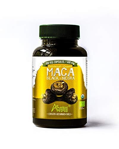 CÁPSULAS DE MACA NEGRA - 100 CAPSULAS DE 500MG - 100% HARINA DE MACA NEGRA GELATINIZADA - AMAZON ANDES