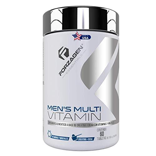 FORZAGEN Essentials   Hecho en EUA   Men's Multivitamin - 60 Tabletas   Vitaminas y Minerales Importados para Hombre   Vitamina C   Ácido Fólico   Zinc   Magnesio   Calcio   Poderosos Antioxidantes   Con Complejo de Rendimiento   BCAA   Creatina   L-Arginina   Promueve Rendimiento y Recuperación Muscular   Refuerza Sistema Inmune   Protege la Salud   Incrementa Energía y Vitalidad   Esencial para Hombres   Suplemento Natural