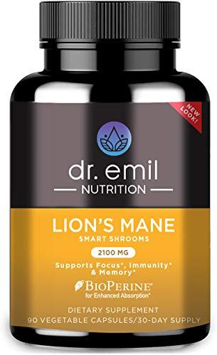 Dr. Emil Nutrition - Cápsula de hongo de melena de león con potenciadores de absorción, potente suplemento cerebral nootrópico y soporte inmunológico con extracto de melena de león 100% orgánico, suministro de 30 días