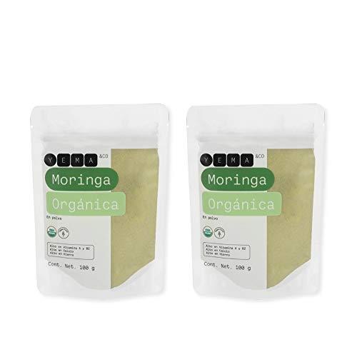 Moringa Orgánica, alto Vitamina A y B2, Calcio y Hierro, 100% Natural, 2 unidades, 100 g c/u