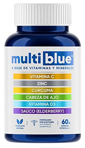 MULTIBLUE IMMUNE ULTRA   Avanzada 6 en 1 Defensa Inmune con Vitamina C, Zinc, Cúrcuma, Cabeza de Ajo, Vitamina D3 y Saúco Elderberry - Los Mejores Ingredientes para el Sistema Inmunológico - (1 Frasco, 60 Cápsulas Vegetarianas, Sin Gluten, Libres de OMG's y 100% Naturales)
