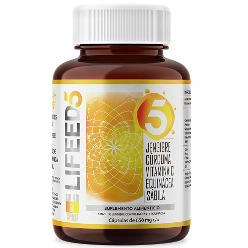 LIFEED WELLNESS Vitamina C, Curcuma, Jengibre, Zinc, Equinacea   Cápsulas 60 Dias   LIFEED5 para sistema inmune reforzado con sábila   Ing Naturales y Antioxidante Natural