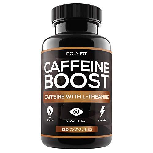 Pastillas de cafeína con L-teanina, 120 cápsulas, suplemento de energía y enfoque, 100 mg de cafeína y 200 mg de teanina por porción