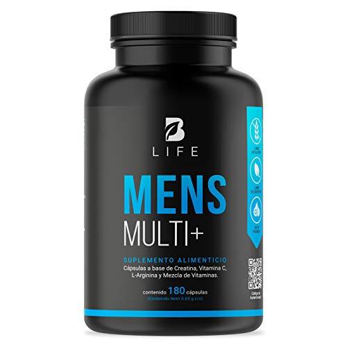 Vitaminas para Hombre, Multivitaminico de Hombre de 180 Capsulas Vitaminas y Minerales con Creatina, Arginina y BCAAs. Mens Multi B Life