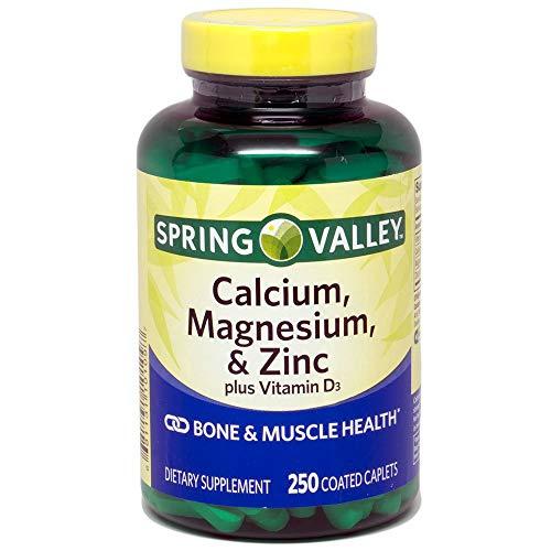 Spring Valley - Calcio magnesio y zinc, además de vitamina D3, 250 cápsulas recubiertas