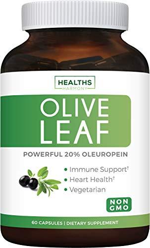 Extracto de hoja de olivo (no OMG), superfuerza: 20% de oleuropeina - 750 mg - vegetariano - soporte inmunológico, salud cardiovascular y suplemento antioxidante, sin aceite, 60 cápsulas