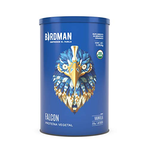 Birdman Falcon Protein Proteina Vegetal USDA Organica En Polvo (Vegana), 22gr Proteina, 39 Porciones Sabor Vainilla 1.170kg