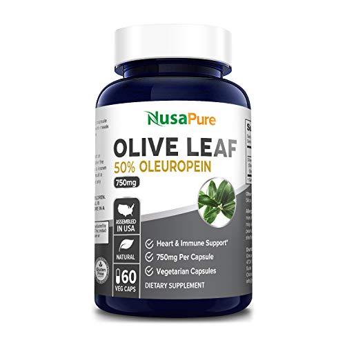 Mejor extracto de hoja de oliva (no GMO) 750 mg – 40% oleuropeina – vegetariano – súper fuerza – apoyo inmunológico, salud cardiovascular y suplemento antioxidante – sin aceite – cápsulas..., 60