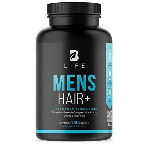 Vitaminas Cabello y Barba para Hombre de 180 Cápsulas Colágeno Hidrolizado, L Lysina, Zinc, B5, B6, Biotina y D3. B Life Mens Hair