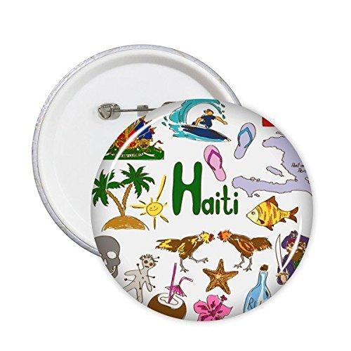 Haití Paisaje Customs Landmark animales Bandera Nacional Resident dieta Ilustración Patrón redondo Pin Botón 5pcs