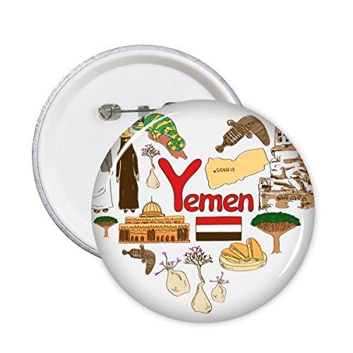 Yemen Amor Corazón Paisaje Customs Landmark animales Bandera Nacional Resident dieta Ilustración Patrón redondo Pin Botón 5pcs