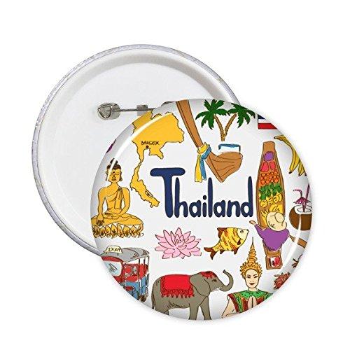 Tailandia Paisaje Customs Landmark animales Bandera Nacional Resident dieta Ilustración Patrón redondo Pin Botón 5pcs