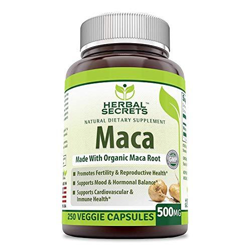 Maca Herbal Secrets | Suplemento | Sin Organismo Genéticamente Modificado | 500 mg | 250 Cápsulas Vegetales