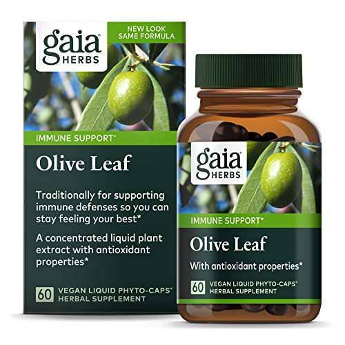 Gaia Herbs Olive Leaf, Vegan Liquid Capsules, 60 Count - Daily Immune Support and Cardiovascular Health Supplement, Antioxidant, 680mg