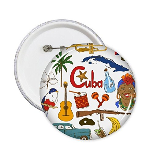 Cuba Paisaje Customs Landmark animales Bandera Nacional Resident dieta Ilustración Patrón redondo Pin Botón 5pcs