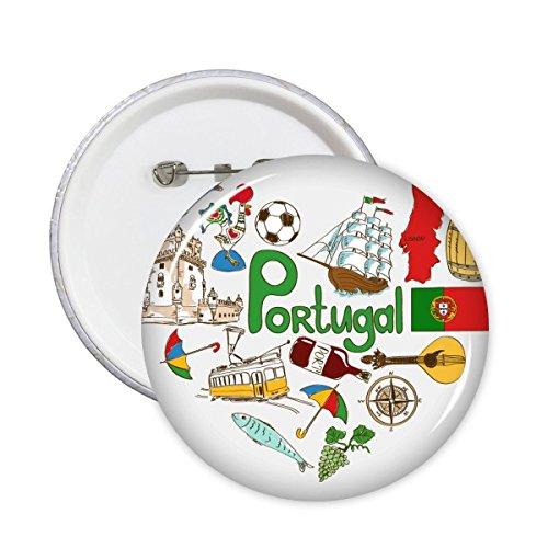 Portugal Amor Corazón Paisaje Customs Landmark animales Bandera Nacional Resident dieta Ilustración Patrón redondo Pin Botón 5pcs