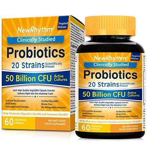 NewRhythm Probiotics 50 mil millones de CFU 20 cepas, 60 cápsulas vegetales, tecnología de liberación dirigida, resistente al ácido estomacal, sin necesidad de refrigeración, sin OMG, sin gluten