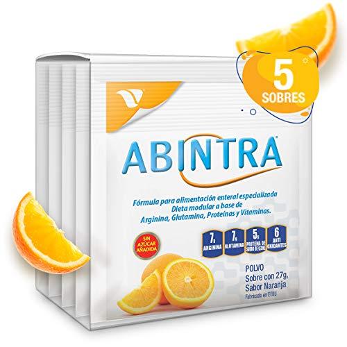Abintra, 5 Sobres con 27g cada uno. Formula para alimentación enteral especializada a base de Glutamina, Proteina, Arginina y Vitaminas con nutrientes que promueven la reparación de tejidos en personas adultas con deficiencias nutricionales. Sabor a Naranja