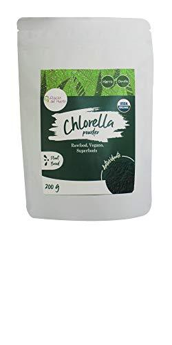 RAÍCES DEL HUERTO - Chlorella orgánica certíficada USDA - Bolsa de 200 g - Alto contenido de proteínas - Antioxidante - Ideal para veganos, vegetarianos y atletas