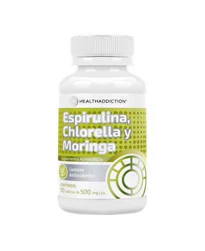 Espirulina, Chlorella y Moringa Healthaddiction I Suplemento Alimenticio I 90 Tabletas de 500mg c/u. Toma 3 Cápsulas Al Día