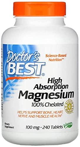 Lisinato Glicinato de Magnesio de Doctor's Best | Suplemento | Alta Absorción | Quelante al 100% | Sin OGM, Vegano, sin Gluten, sin Soja | 100 mg | 240 tabletas