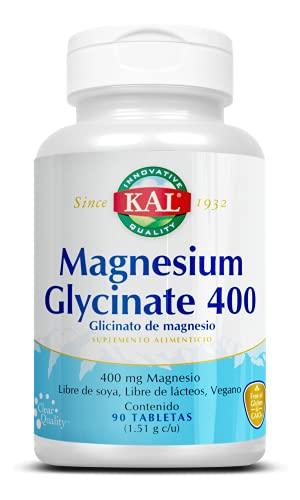 KAL Magnesium Glycinate 400, Glicinato de Magnesio 400 mg/ 90 Tabletas, Fórmula Vegetariana, Sin Soya, Lácteos y Gluten
