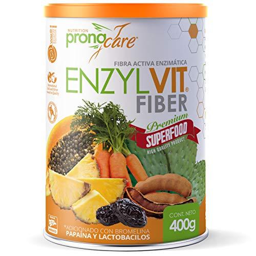 Fibra en Polvo 100% Vegetal Adicionada con Papaína y Bromelína + Lactobacilos | Lata de Fibra Activa Enzimática 400 gr | Suplemento